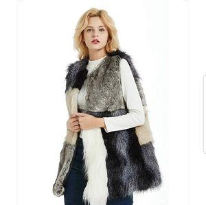 NEW! Multicolor Block Faux Fur Open Vest w/Pockets